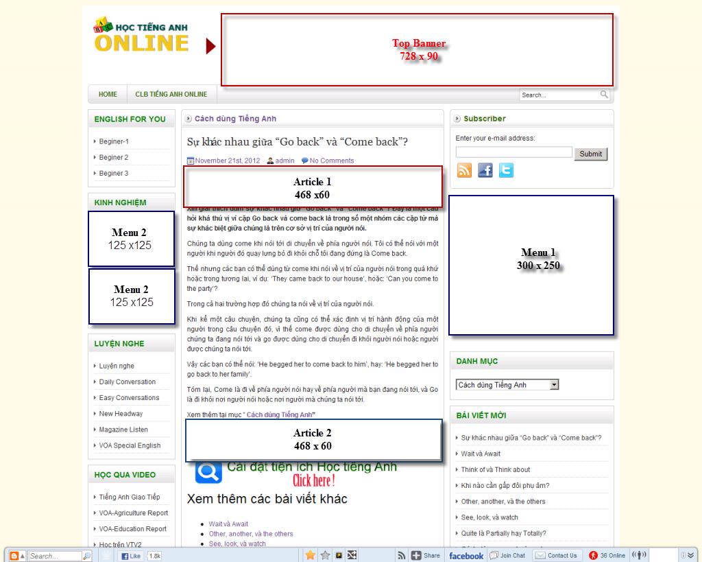 Báo giá quảng cáo trên HocTienganh.info
