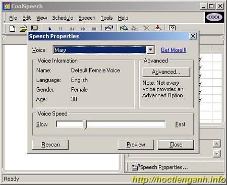 Phần mềm đọc Tiếng Anh miễn phí cool speech